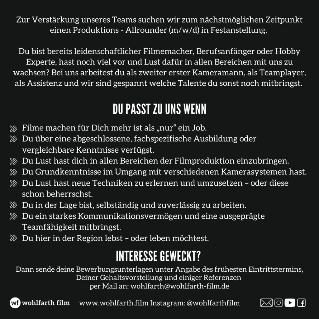 Stellenanzeige Filmemacher / Kamera wohlfarth film